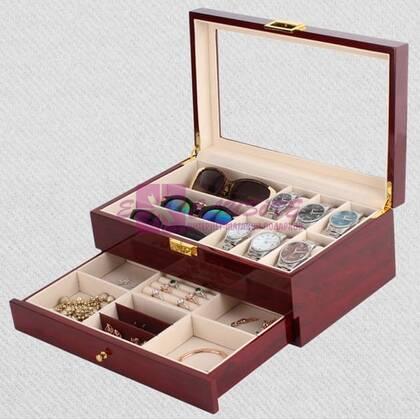 Шкатулка-органайзер для часов, очков и украшений (дерево/лак)