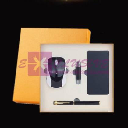 Подарочный набор - ручка, флешка, павербанк, мышь