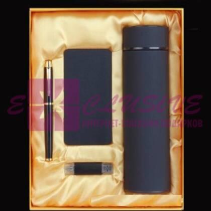 Подарочный набор - ручка, флешка, павербанк, термос