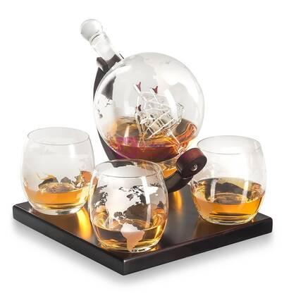 Графин-глобус со стаканами с подставкой (стекло)