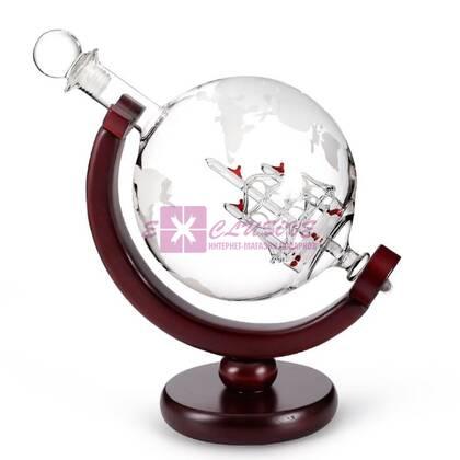 Графин Глобус (дерево/стекло)